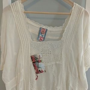 Johnny Was Ivory Embroidered Dress
